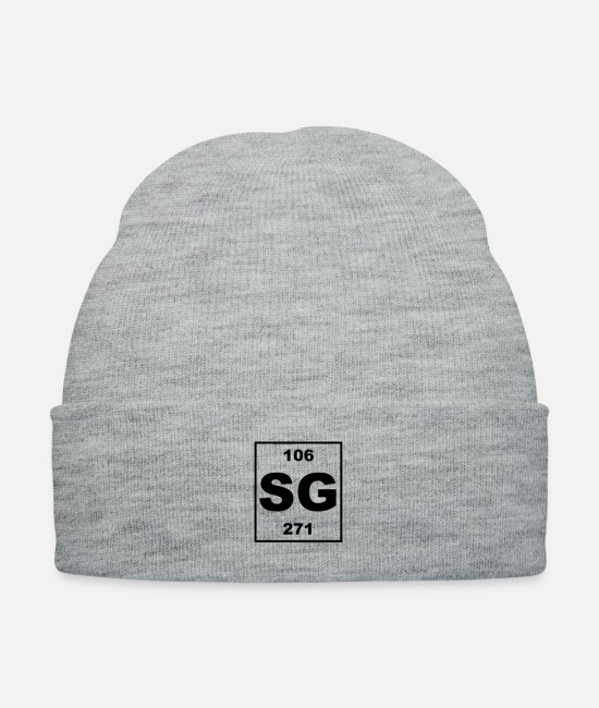 Periodic Table Caps & Hats - sg (seaborgium) - Small - Knit Cap heather gray
