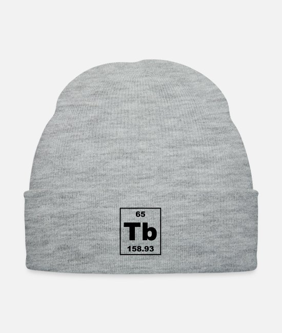 Periodic Table Caps & Hats - tb (terbium) - Small - Knit Cap heather gray