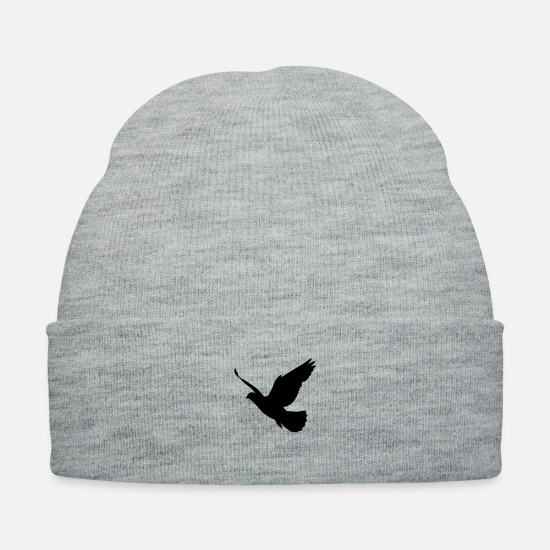 Love Caps - 1 color - Dove Birds Flying Peace Freedom Nature - Knit Cap heather gray