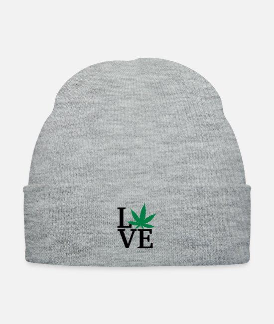 Drugs Caps & Hats - I love weed - Knit Cap heather gray