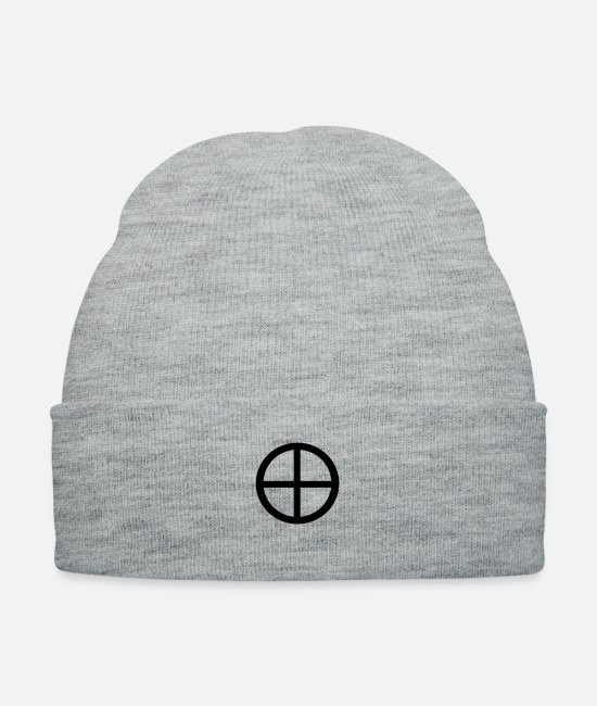 Druid Caps & Hats - Celtic Wheel Cross - Knit Cap heather gray