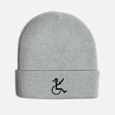 Disabled Pirate in a wheelchair with a sword, disability - Knit Cap