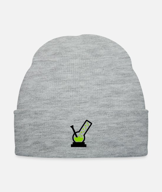 Medicine Caps & Hats - cannabis stoner pot - Knit Cap heather gray