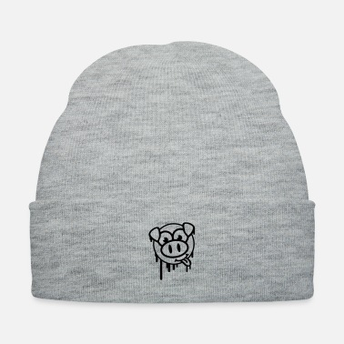 Hog pig_smiley_graffiti_wq1 - Knit Cap