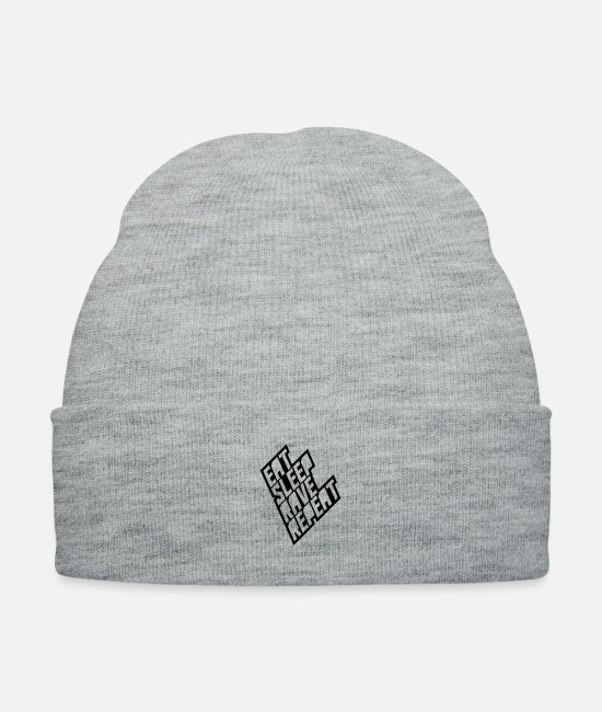 Sleep Caps & Hats - Eat Sleep Rave Repeat Cool Party Design - Knit Cap heather gray