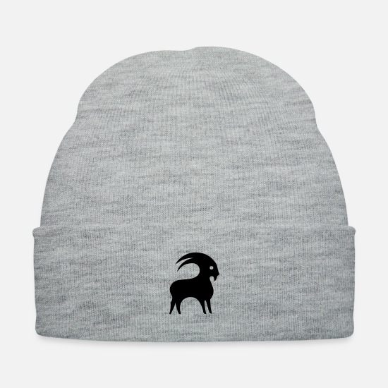 Symbol  Caps - Astrology Capricorn Horned Goat Zodiac Sign Symbol - Knit Cap heather gray