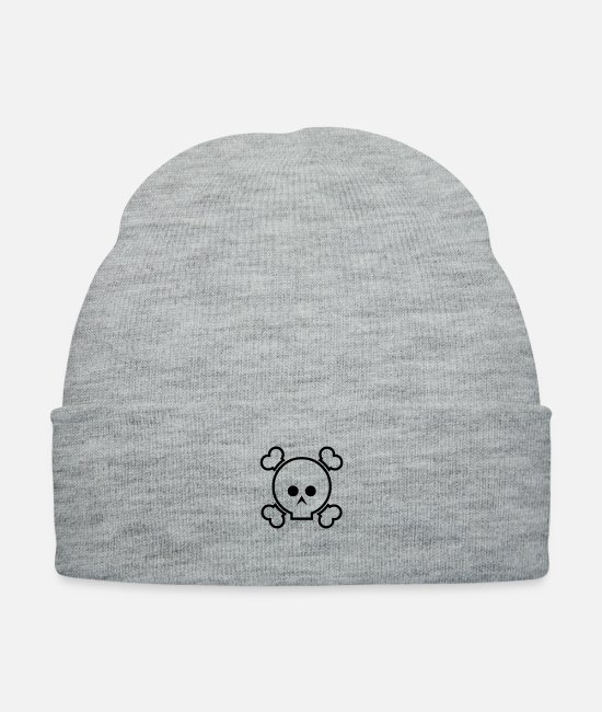 Hipster Caps & Hats - Cute Skulls & Bones - Knit Cap heather gray