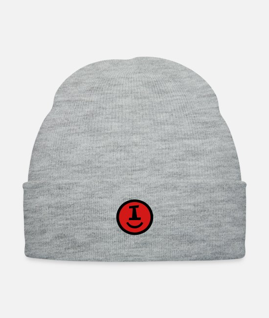 Happy Positive Smiley Intitial Letter I For Dont Caps & Hats - ♥☺↷Happy Smiley Alphabet Initial Letter-I↶☺♥ - Knit Cap heather gray