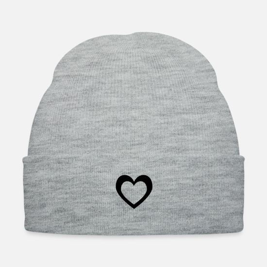 Romantic Caps - Cartoon Heart within heart shape - Knit Cap heather gray