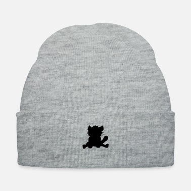 Fur silhouette black outline silhouette sitting sweet - Knit Cap