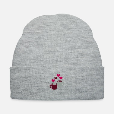 Cappuccino two coffee cups with love hearts - Knit Cap