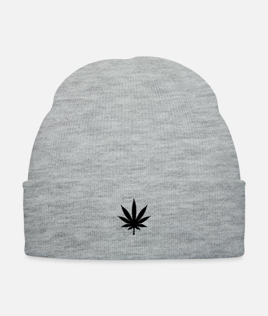 Dope Caps & Hats - weed_leaf_t1 - Knit Cap heather gray