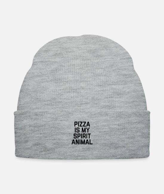 Pizza Caps & Hats - Pizza Spirit Animal Funny Quote - Knit Cap heather gray