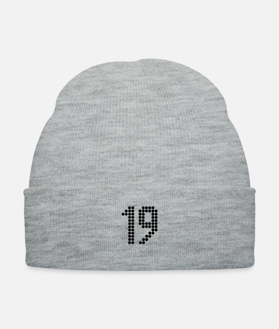 Rugby Caps & Hats - 19 Numbers Football Numbers Jersey Numbers - Knit Cap heather gray