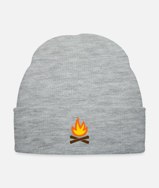 Tent Caps & Hats - campfire camping BBQ nature - Knit Cap heather gray
