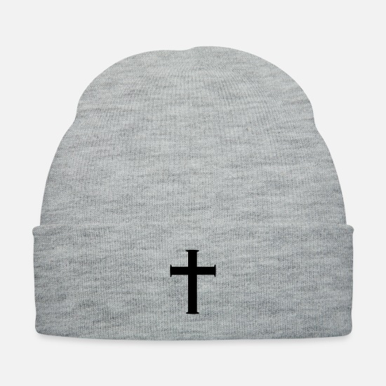 Christian Caps - cross3 - Knit Cap heather gray