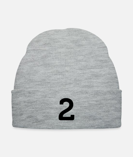 Numbering Caps & Hats - Number 2 (1c)++ - Knit Cap heather gray