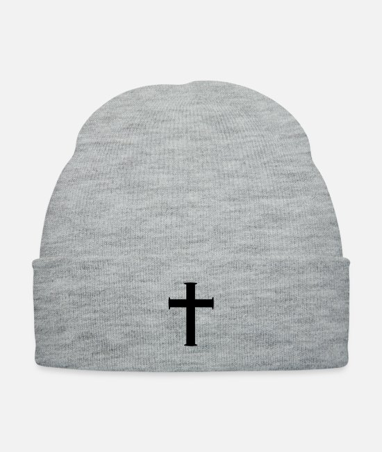 Pope Caps & Hats - Christian Cross - Knit Cap heather gray