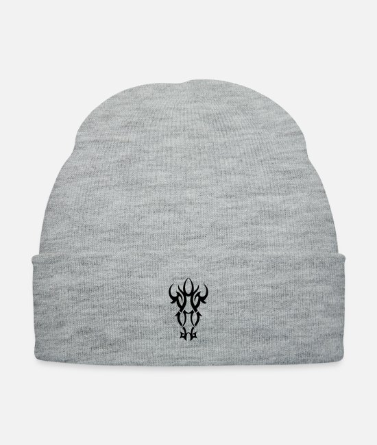 Graphic Art Caps & Hats - TRIBAL ORNAMENT 6 - Knit Cap heather gray
