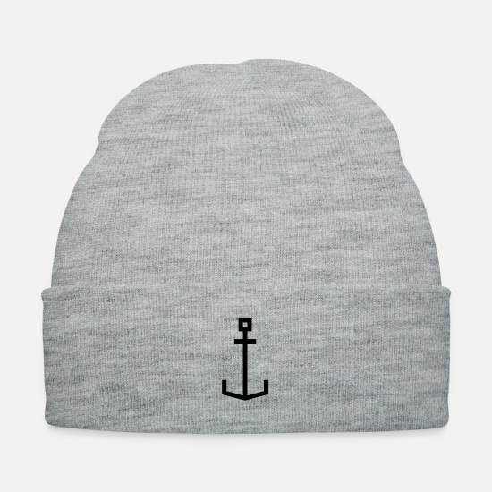 Harbour Caps - Square anchor - Knit Cap heather gray