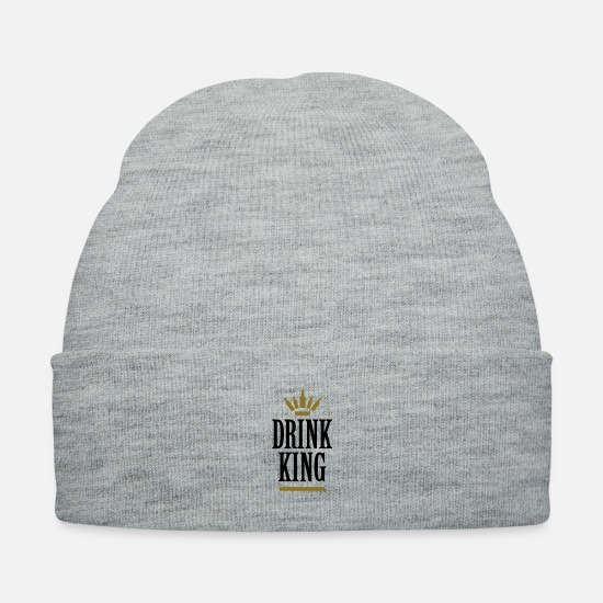Alcohol Caps - Drink King drinking - drunk bar King - Knit Cap heather gray