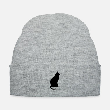Sit Black cat sitting - Knit Cap