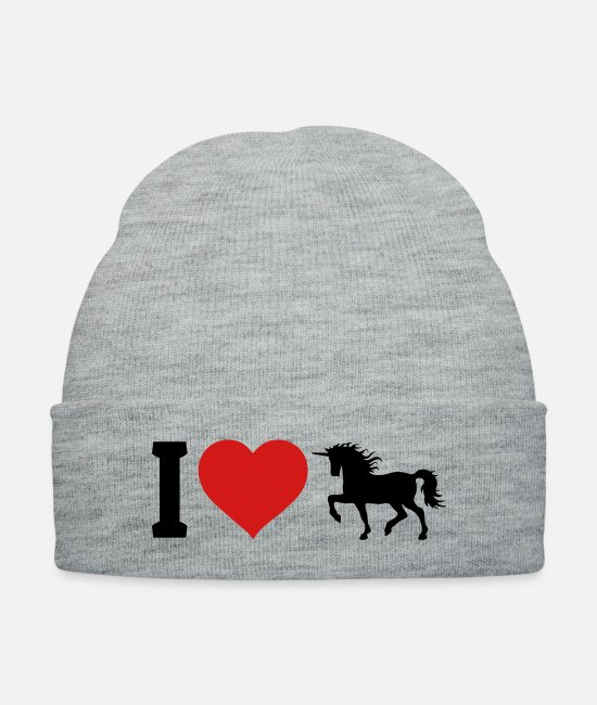 Heart Caps & Hats - I love unicorns - Knit Cap heather gray