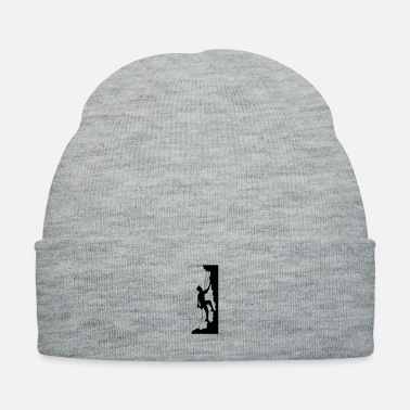 Mountain Climbing cool emblem shield steep wall mountaineer climbing - Knit Cap