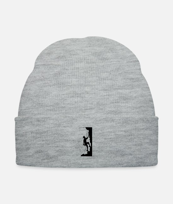 Design Caps & Hats - cool emblem shield steep wall mountaineer climbing - Knit Cap heather gray