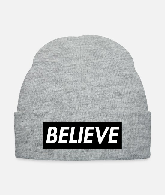 Holy Spirit Caps & Hats - Believe in Christ Christian T shirt - Knit Cap heather gray
