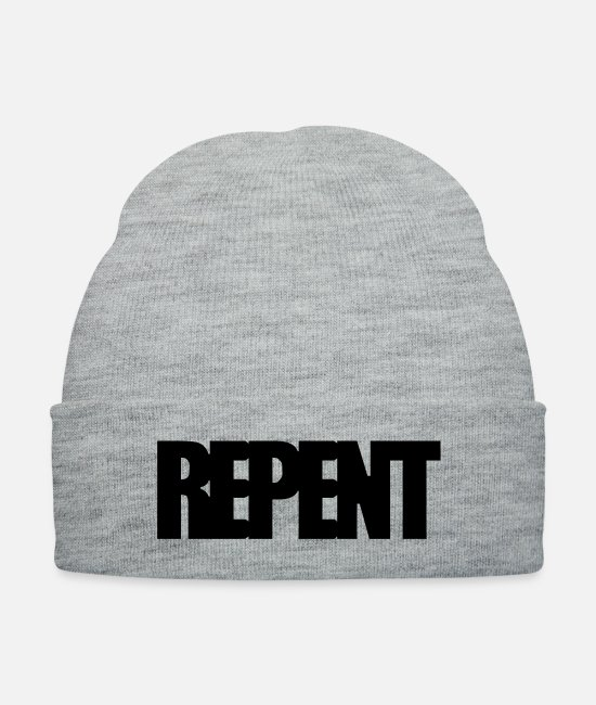 Church Caps & Hats - Repent - Knit Cap heather gray