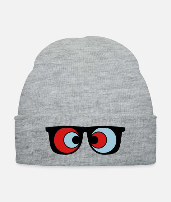 Trippy Caps & Hats - trippy hipster 3d glasses - Knit Cap heather gray