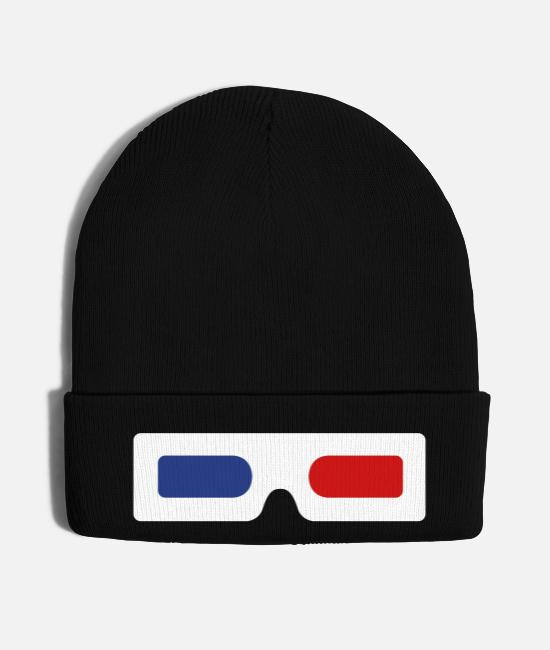 3D Caps & Hats - 3d glasses old skool - Knit Cap black