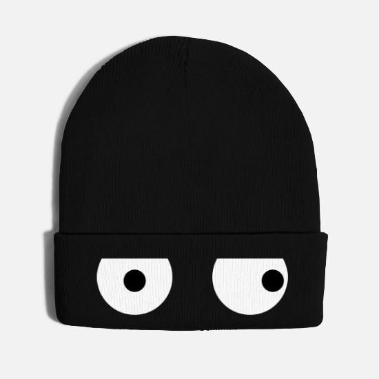 Face Caps - Funny Squint Eyes - Creative Design - Knit Cap black