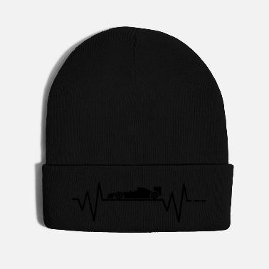 Race Car Heartbeat - formula 1 car, race, motor, sport - Knit Cap
