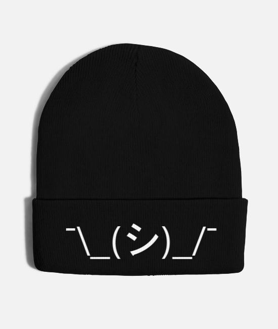 Art Caps & Hats - Oops Shrug Emoticon ¯\_(シ)_/¯ Japanese Kaomoji - Knit Cap black