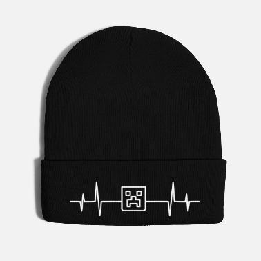 Pixel Heartbeat Pulse Creeper Head Craft Mine Nerd Geek - Knit Cap