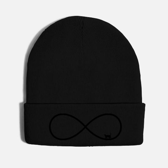 Love Caps - infinity love cat friends forever gift - Knit Cap black