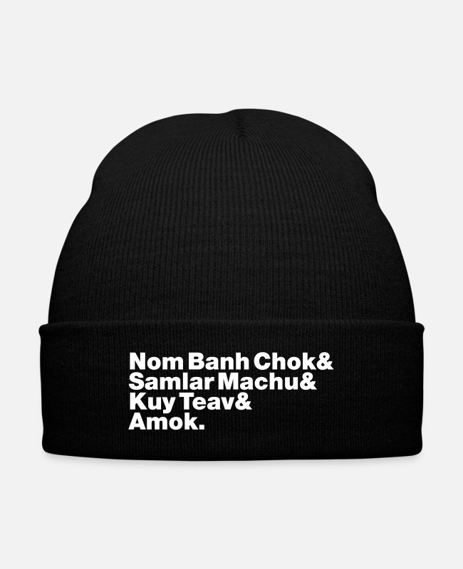 Cambodia Caps & Hats - Cambodian / Khmer Street Food - Knit Cap black