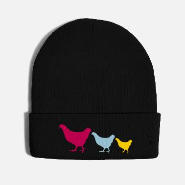 Large Small and large ongoing colorful chickens - Knit Cap