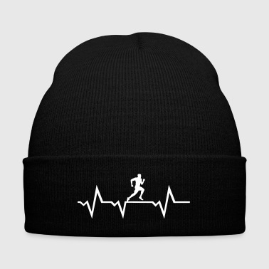Running Man & Heartbeat - Knit Cap with Cuff Print
