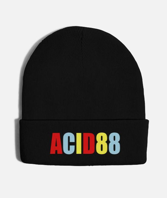 Techno Music Caps & Hats - acid 88 bright techno logo - Knit Cap black