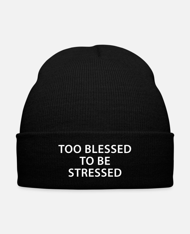 Favorite Caps & Hats - too blessed to be stressed - Knit Cap black
