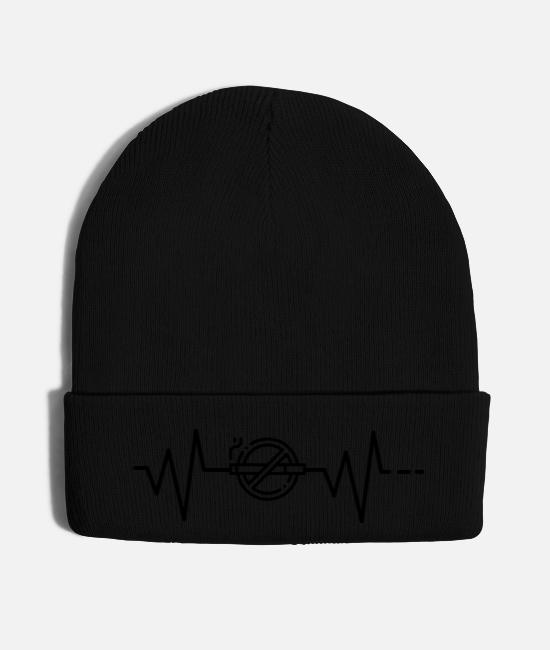 Non-smoking Caps & Hats - Heartbeat No Smoking cigarette stop nonsmoking - Knit Cap black
