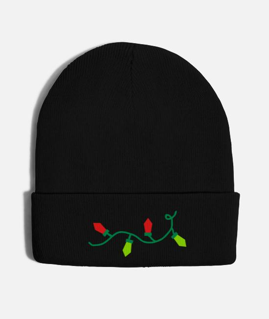 Red Caps & Hats - Christmas Lights - Knit Cap black