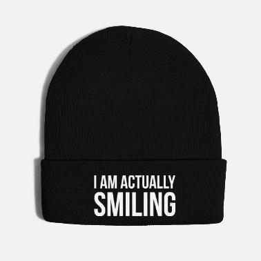 Irony I AM ACTUALLY SMILING funny quote slogan gift - Knit Cap
