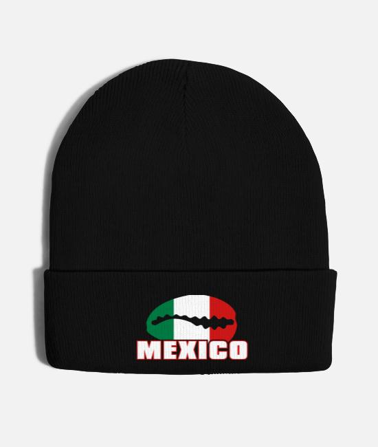 Flag Caps - Mexican flag in cauri - Knit Cap black