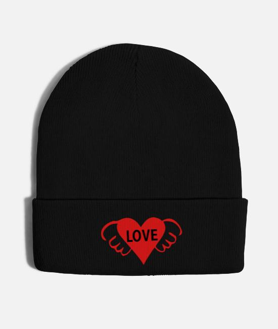 Heart Caps & Hats - LOVE TXT RED HEART WINGS - Knit Cap black