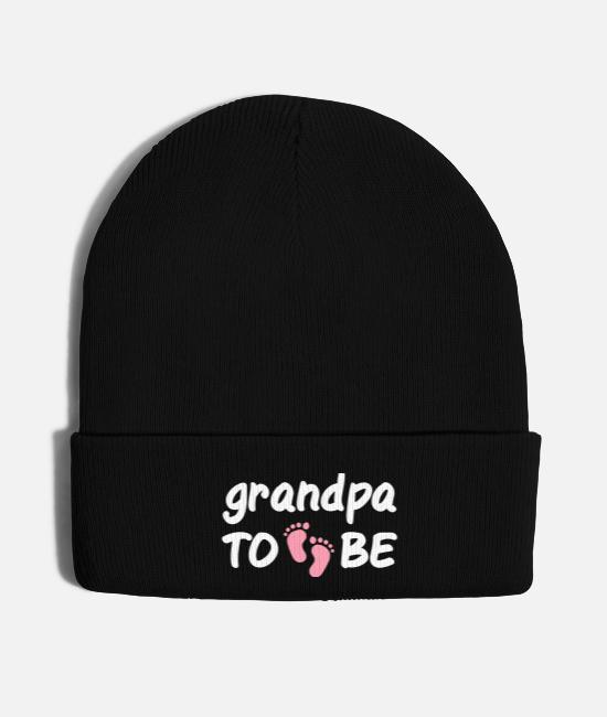 Pregnancy Caps & Hats - Grandpa To Be Baby Announcement Feet - Knit Cap black