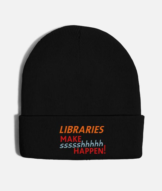 Hipster Caps & Hats - libraries make ssshhh happen! - Knit Cap black
